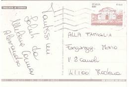 1999 £800 €0,41 CELLERE CHIESA DI SANT'EGIDIO SU CARTOLINA TAGLIATA DI CERVIA - 1991-00: Marcophilia