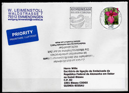 """Corona / Covid 19 Postal Service Interruption """"Zurück An Den Absender.. """" Cover Germany To GUINEA With Special Postmark - Krankheiten"""