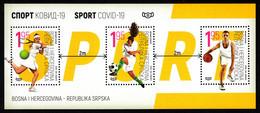 Bosnia Serbia 2020 Sports Tennis Football Basketball Health Medicine Covid 19 Souvenir Sheet MNH - Enfermedades