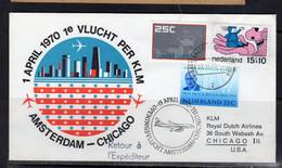 1st Flight 1970 Amsterdam To Chicago USA (p56) - Briefe U. Dokumente