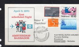 1st Flight 1970 Amsterdam To Bridgetown Barbados  (p66) - Briefe U. Dokumente