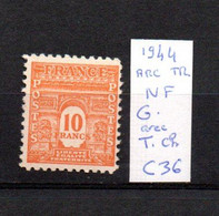 MAURY N° 629 ARC DE TRIOMPHE 1944 NEUF SANS TRACE DE CHARNIERE     COTE 36 € Lot N° 147 - 1921-1960: Période Moderne