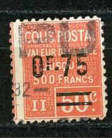 FRANCE -  COLIS POSTAUX 1928-29 - 0f75 / 50c ROUGE -  Yt  N° 91 Obli. - Oblitérés