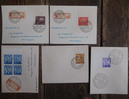 Lot 5 Enveloppes Timbres Belgique Oblitérations Spéciales 1957 / Rois Léopold III & Baudouin - Erinnerungskarten