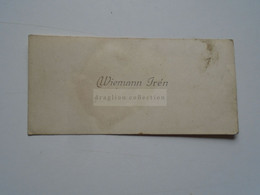 D176733 Carte Visite-Visinting Card Ca 1910-20's WIEMANN Irén  - Budapest  Hongrie Hungary - Cartoncini Da Visita