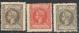Cuba  1898    Sc#167-9  8c/ 10c/ 15c  King Alfonso  MH   2016 Scott Value $7.45 - Kuba (1874-1898)