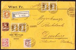1915 R-,Wert-Brief Aus Zürich Nach Duisburg. Mischfrankatur Stehende Helvetia, Ziffern, Tell Mit Und Ohne Aufdruck. - Briefe U. Dokumente
