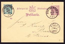 1890 5 Pf GZ Karte Mit Zusatzfrankatur Aus Stuttgart Nach Buchs ZH. Rückseitig Schuhfett Reklame. - Wurttemberg