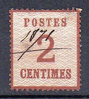 Alsace-Lorraine 1870 -AUTHENTIQUE 2c Brun-rouge YT N°2 -Oblitéré Plume - Défaut. Cote 240€ - A  3% DE LA COTE - Alsace-Lorraine