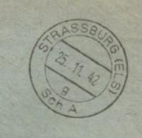 Sk1081 - STRASSBURG (ELS) Sch A G - 1942 - Franchise CHEQUES POSTAUX - Verso Publicité - - Alsace Lorraine