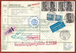 Paketkarte, Luftpost, Landschaft U.a., Kobenhavn Ueber Duesseldorf Flughafen Nach Velbert 1973 (3546) - Cartas