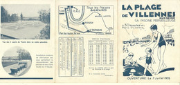 LA PLAGE DE VILLENNES SUR SEINE - JUILLET 1935-PISCINE COURT DE TENNIS - 3 VOLETS - Tourism Brochures