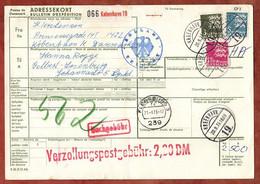 Paketkarte, Wappenloewe, Kobenhavn Ueber Flensburg Nach Velbert 1973 (3548) - Cartas