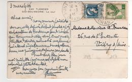 Beaux Timbres , Stamps Yvert N° 217 , 219 Sur Cp , Carte Photo , Postcard  Du 04/03/1946 - Cartas