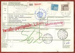 Paketkarte, Wappenloewe, Bjaeverskov Ueber Koge Flensburg Nach Velbert 1975 (3549) - Cartas