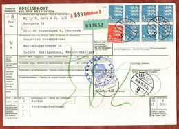 Paketkarte, Wappenloewe, Kobenhavn Ueber Flensburg Nach Velbert 1975 (3550) - Cartas