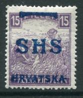 YUGOSLAVIA 1918 SHS Overprint For Croatia On Hungary 15f Harvesters MH / *. Michel 63  Ercegovic Certificate. - Unused Stamps