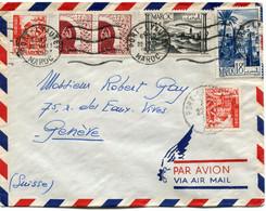 MAROC LETTRE PAR AVION DEPART PORT-LYAUTEY 22 MAI 1950 MAROC POUR LA SUISSE - Cartas