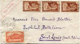 REUNION LETTRE PAR AVION DEPART SAINTE-ROSE 26-3-46 REUNION POUR LA FRANCE - Cartas
