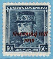 """SLOWAKEI 11 ** Blauer Stefanik = Mi.23 Mit Aufdruck """"Slovensky Stat"""" = Slovaquie  Yvert 10 Neuf = Slovakia Scott#11mnh - Nuovi"""