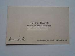D176767 Carte De  Visite- Visiting Card  Ca 1910-20's    REISZ Dávid  - Book And Paper Merchant  Budapest  Hungary - Cartoncini Da Visita