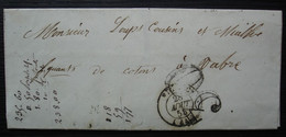 Figeac (Lot) 1855 Lettre Taxée  30 Pour Vabre, Loup Cousins Et Mialhe Fabricants De Coton - 1849-1876: Classic Period