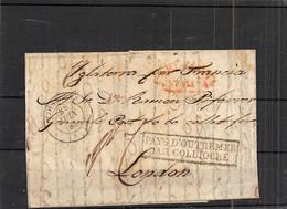 1838.- LETTRE DE BARCELONE A LONDRES. MARQUE ROUGE CATALUÑA. DATEUR DE COLLIOURE ET MARQUE MARITIME . SALLES 119 - 1801-1848: Precursors XIX