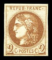 N°40Aa, 2c Chocolat Report 1, Infime Point Clair, Fraîcheur Postale. TTB (certificats)  Qualité: ** - 1870 Emission De Bordeaux