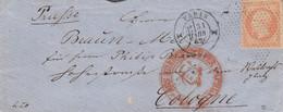 LETTRE SIGNÉE. 31 MARS 62. N° 16. PARIS DIABOLO + ROULETTE DE POINTS. POUR COLOGNE PRUSSE. FRANKREICH PER AACHEN - 1849-1876: Periodo Clásico