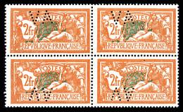 N°145, Merson 2F: Timbres Perforés 'VA' En Bloc De Quatre (2ex*). SUP. R. (certificat)  Qualité: ** - Variétés: 1900-20 Neufs
