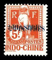 N°30a, 2 Pi Sur 5f Rouge: Double Surcharge. SUP (certificat)  Qualité: **  Cote: 455 Euros - Postage Due