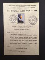 ALGÉRIE : Notice Philatélique - 1er Jour 1984 Jeux Olympique - Summer 1984: Los Angeles