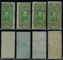 Brazil 1869 4 Fiscal Revenue Stamps Emperor D. Pedro II 200 400 600 800 Réis Blue Spots Paper - Otros