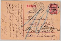 Bayern - 10 Pfg. Huppsches Wappen/Volksstaat, GA-Karte/Nachporto Venningen 1919 - Beieren