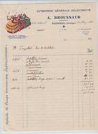 EXCIDEUIL: A. BROUSSAUD, Entreprise D'Electricité / Fact De 1936 - Electricity & Gas