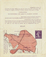 Semeuse Camée 30ct Carte Pneumatique Plan Marseille Reponse Payee - Pneumatic Post