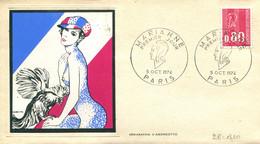 FDC Marianne - Paris (75) - 5 Oct. 1974 - Sérigraphie D'Andreotto - Les 3 Enveloppes - 1970-1979