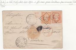 LETTRE. 14 NOV 65. MIXTE N° 16 ET N° 23. 80c. BEAUFORT-EN-VALLEE POUR LONDRES. PD. PAID - 1849-1876: Période Classique