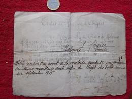 Certificat D'invaliditée Pour Orifices De Tajet Des Balles Reçu En Sep. 1918 - 1914-18