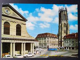 Fribourg Freiburg Avec La Cathedrale/ Bus/ Oldtimer Autos - FR Fribourg