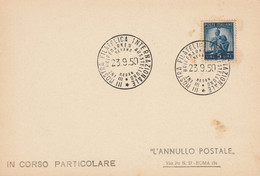 LETTERA 1950 L.5 IN CORSO PARTICOLARE 1950 GIORNATA FILATELICA INTERNAZIONALE (ZY672 - 1946-60: Marcophilie