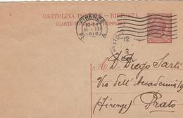 INTERO POSTALE RISPOSTA 1916 C.10 TIMBRO PRATO FIRENZE (ZY698 - Entero Postal