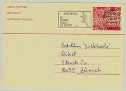 Schweiz / Helvetia 1986, Ganzsachenkarte Fribourg - Zürich, Pro Sport, Läufer / Runner - Leichtathletik