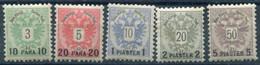 AUSTRIA PO In The LEVANT 1888 Surcharges On Arms Issue LHM / *   Michel 15-19 - Levant Autrichien