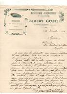 Facture Menuiserie - ébénisterie Et Charpentes Réparations En Tous GenresAlbert Goze à Vernet-Les-Bains De 1912 - 1900 – 1949