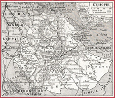 Carte De L'Ethiopie. Carte Avec Chemin De Fer. Larousse 1922. - Documentos Históricos