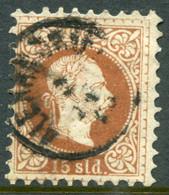 AUSTRIA PO In The LEVANT 1875 Franz Joseph Fine Print 15 Soldi Used. Michel 5 II - Levant Autrichien