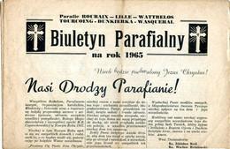 Religion,bulletin Paroissial Roubaix-Lille-Wattrelos-Tourcoing-Dunkerque-Wasquehal,Biuletyn Parafialny Na Rok 1965 - Religion & Esotericism