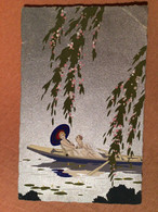 Ars Nova, Dipinta A Mano - Art Déco, Couple Barque Fond Argenté - 1900-1949