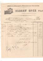 Facture Atelier De Menuiserie, ébénisterie Et Charpentes Albert Goze Fils à Vernet-Les-Bains En 1913 - 1900 – 1949